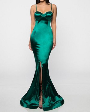 Emerald Green Satin Mermaid Formal Dress