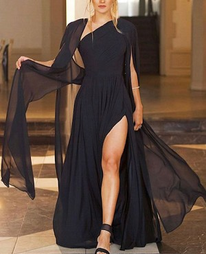 Chiffon Long Cape with Shoulder Pads- 2 Colors
