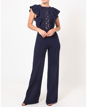 Navy Blue Jumpsuit with Lace and Ruffles