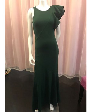 Hunter Green Formal Dress with Ruffle