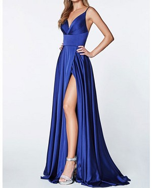 Satin V-Neck Evening Dress w/Slit- 2 Colors
