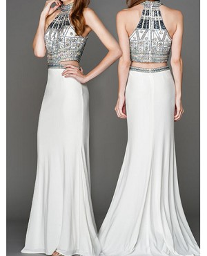 Beaded Halter Crop Top Style Evening Dress- 2 Colors