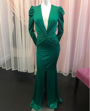 Long Sleeve Crystal Deep V Long Dress with Slit- 4 Colors