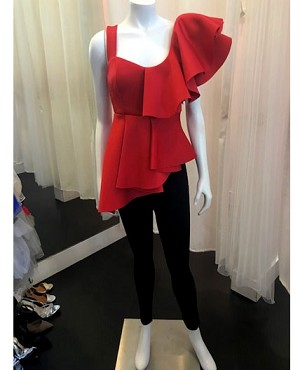 Scuba One Shoulder Dramatic Ruffle Top- 2 Colors