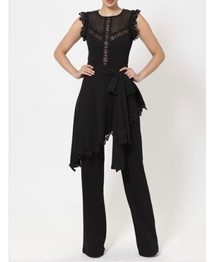 Black Lace Trim Jumpsuit with Skirt Wrap Around