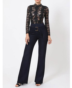Denim High Waist Pants with Belt- 2 Colors