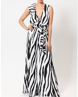 Black and White Print Jumpsuit