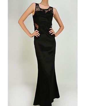 Black Taffeta Stretch Dress w/Lace Cutouts