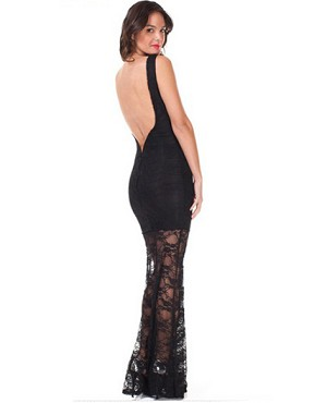 Lace Formal Dress w/Open Deep V Back- 2 Colors