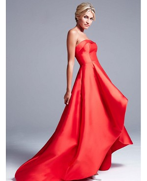 Strapless High Low Evening Gown- 3 Colors
