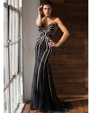 Sweetheart Strapless Black Colorblock Mermaid Formal Dress