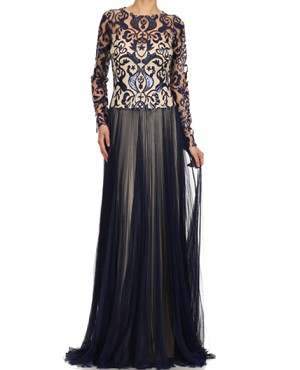 L/S Baroque Lace and Tulle Evening Gown- 3 Colors