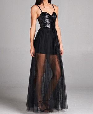 Black Tulle Formal Dress w/Leatherette Corset