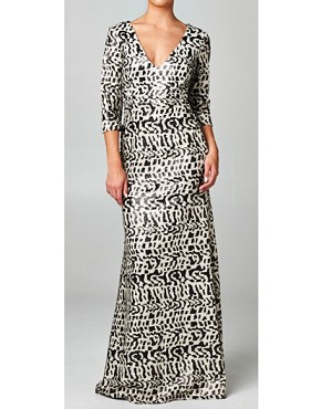 L/S Black and Creme Sequins Evening Dress