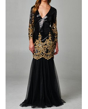 L S Black And Gold Sequins Mermaid Evening Gown