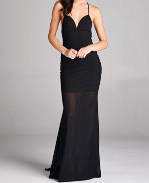 Black Mesh Halter Formal Dress