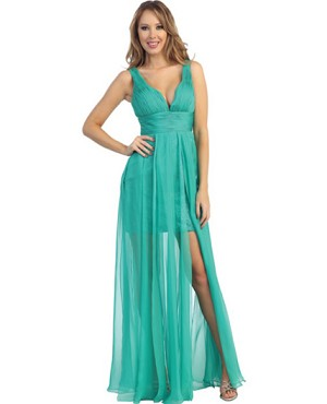 Jade Green Chiffon Formal Dress