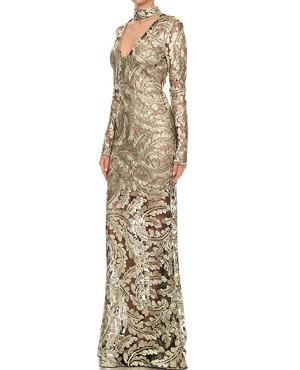 3c0431da5 Long Sleeve Lace Evening Dress, Shop Evening Dress Miami, Modest Evening  Dress Miami, Gold Lace Evening Dress, Dress Boutique Miami