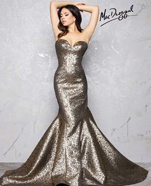 Metallic Antique Gold Mermaid Gown