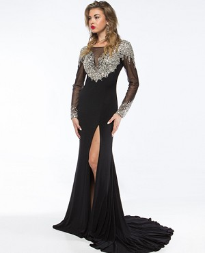 Jersey Evening Gown w/Long Sleeve Mesh Sleeves and Beads- 2 Colors