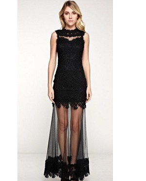 Guipure Lace Formal Dress w/Sheer Bottom- 2 Colors