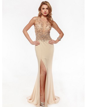 Sheer Mesh Bejeweled ITY Gown- 2 Colors