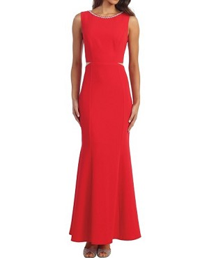 Solid Modest Formal Dress w/Trim- 2 Colors