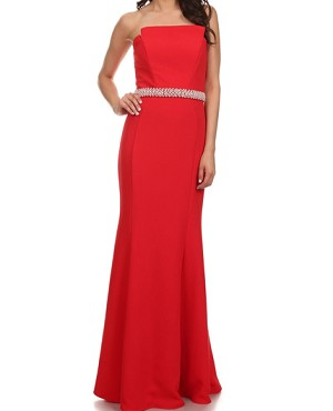 Structured Strapless Formal Dress w/Sash- 3 Colors