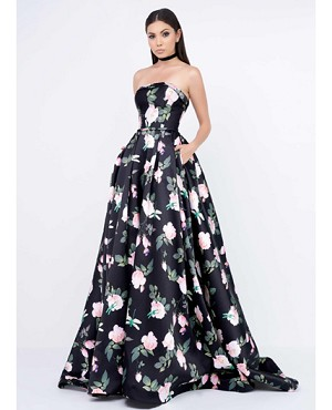 Strapless Floral Print Ball Gown