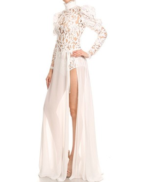 L/S Lace Bodysuit w/Chiffon Wrap Skirt