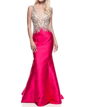 Hot Pink Mermaid Evening Dress w/Nude Trimmed Bodice