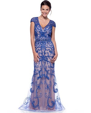Royal Blue and Nude Lace Evening Gown