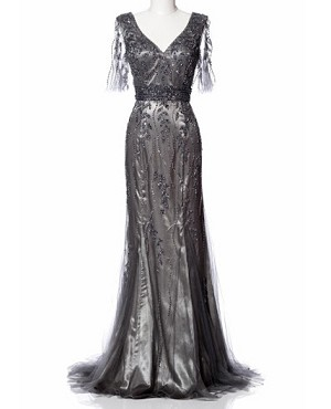 Grey Mesh Evening Dress w/Bead Trim