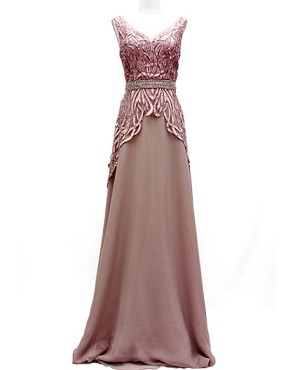 Mauve Chiffon Evening Dress w/Bead Trims and Sequins