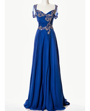 Royal Blue Chiffon Evening Dress w/Beads