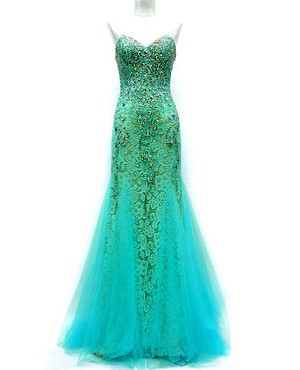 Turquoise Tulle and Lace Strapless Gown