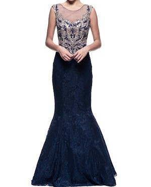 Navy Lace Mermaid Evening Dress w/Trimmed Bodice