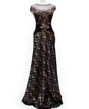 Black Lace Formal Dress w/Gold Trims-Available in Plus Size