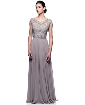 Grey Chiffon Gown w/Rhinestones- Comes in Plus Size