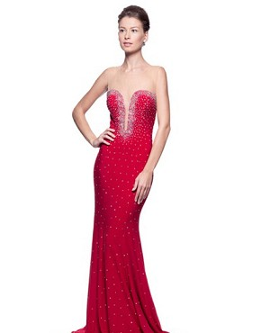 Red Jersey Gown w/Iridescent Rhinestones and Open Back