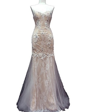 White and Nude Lace Strapless Mermaid Evening Dress