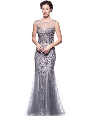 Shop Mother of the Bride Gowns Miami, Gray Sequins Evening Gown ...