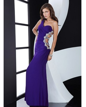 Purple One Shoulder Evening Dress w/Cut Outs