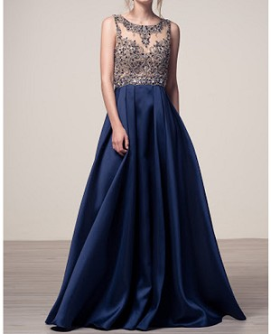 Navy Ball Gown w/Sheer Beaded Bodice