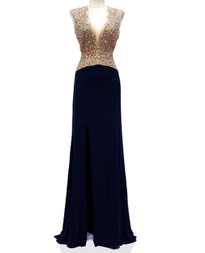 Navy Jersey Evening Gown w/Rose Gold Trims
