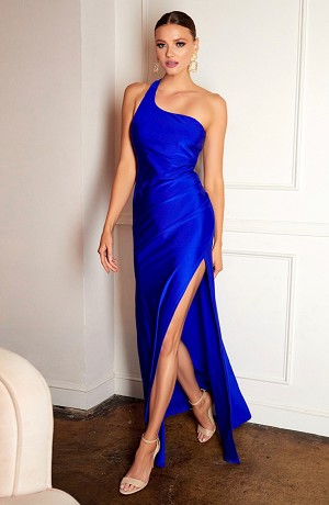 Crystal One Shoulder Formal Dress with Open Back- 3 Colors