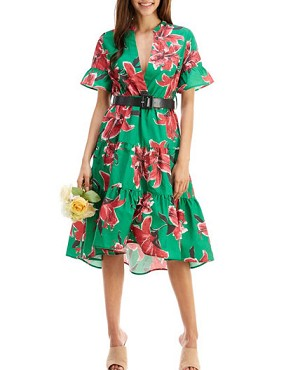 Green Floral Print Hi Low Dress