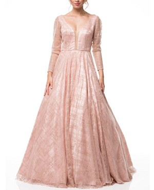 Dusty Rose L/S Ball Gown with Glitter