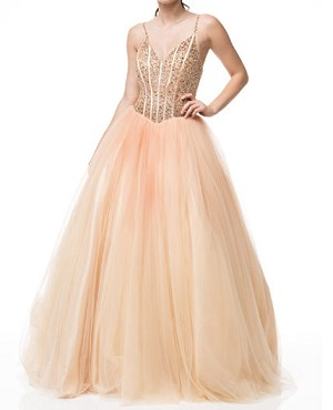 Tulle Ombre Ball Gown with Rhinestone Corset- 2 Colors