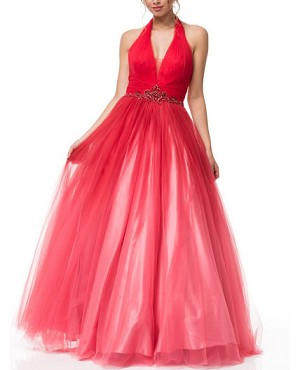 Red Halter Tulle Ball Gown